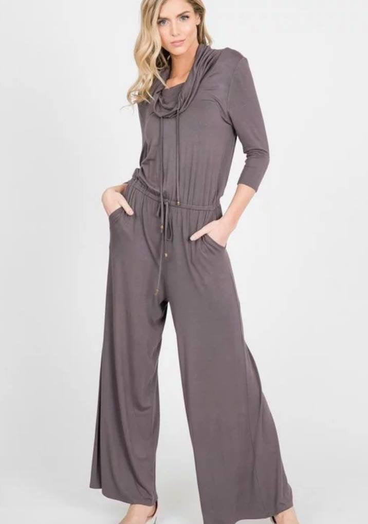 Cowl Neck Jumpsuit (Slate)