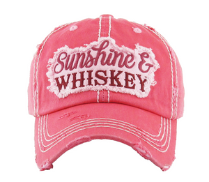 Sunshine and Whiskey hat (hot pink)
