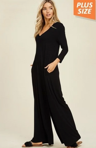 V Neck Jumpsuit with Pockets and Hoody (Plus Size) (Black)