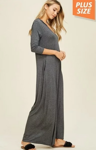 V Neck Jumpsuit with Pockets and Hoody (Plus Size) (Charcoal)
