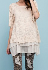 Sweet Knit Sweater with Ruffle Botttom