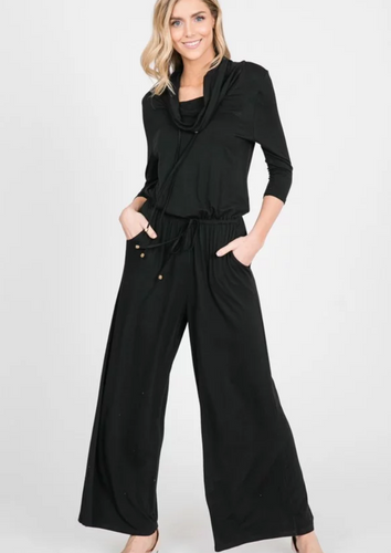 Cowl Neck Jumpsuit (Black)