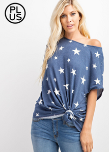 Stars Poncho Sleeve Top (Grey) (Plus Size)