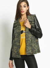 Camo Jacket w/ Faux Leather Sleeves