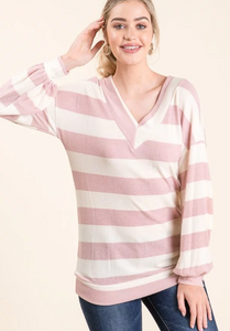 Mauve Stripe Lightweight Sweater