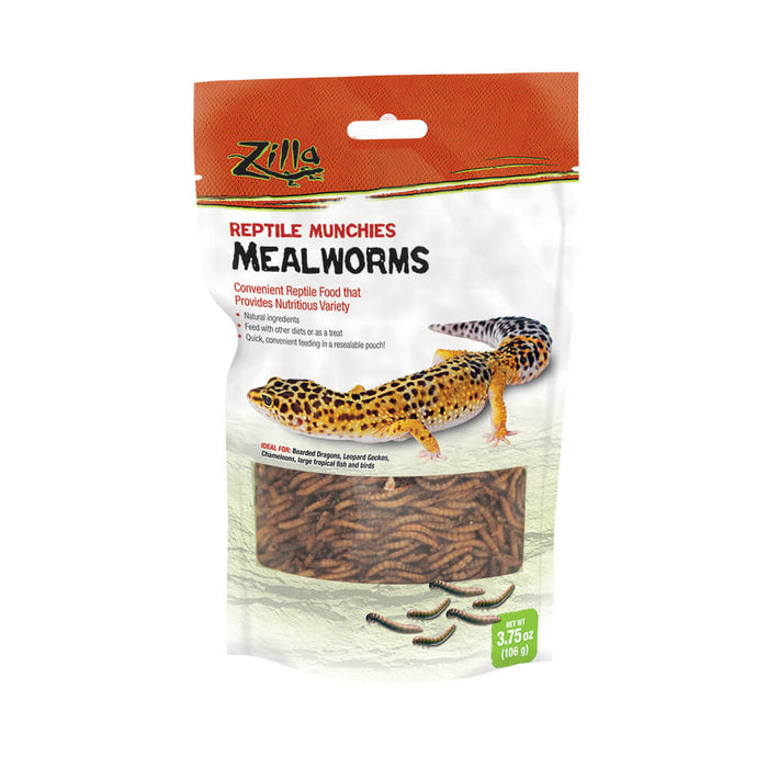 Zilla Reptile Munchies Mealworms, 3.75oz
