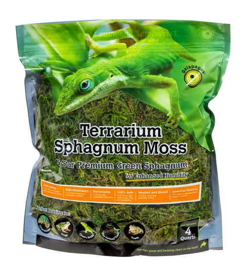 Galapagos Terrarium Sphagnum Moss Fresh Green Stand-Up Pouch 4qt