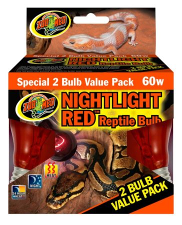 Zoo Med Nightlight Red Reptile Bulb, 60w (2 pack)