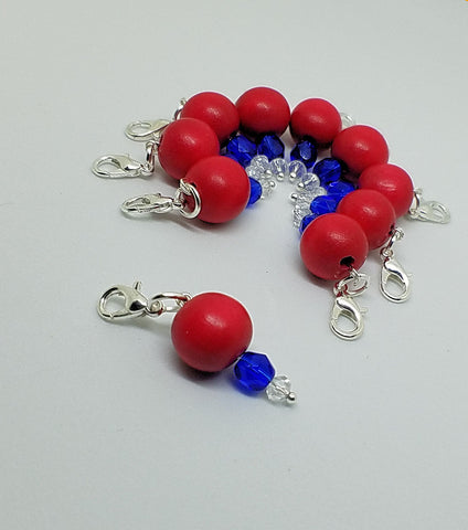 Crochet row/ stitch markers in red, white, and blue QTY 10