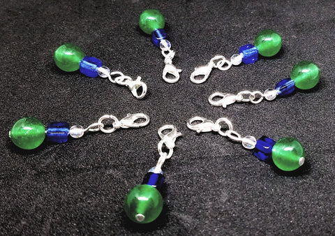 Crochet gift: Stitch and row markers; blue, green, iridescent glass beads QTY 7