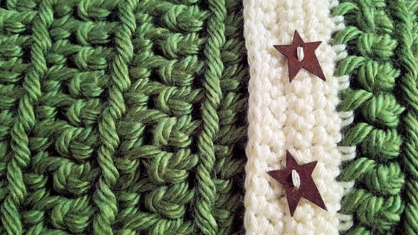Sage and off-white cowl with copper star buttons