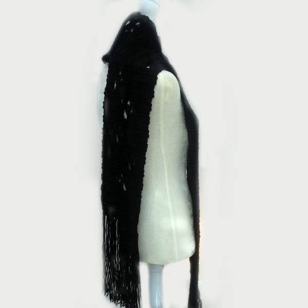 Black Cat Paw Scarf, long with tassle