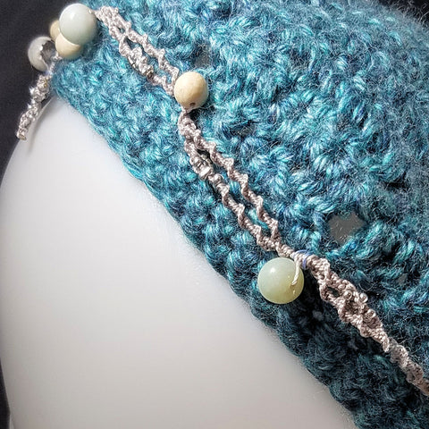 Oceans Blue Beret with Stone Beads in a Macrame Band
