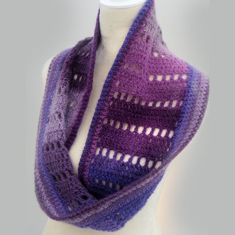 Shades of Purple wool, silk, and mohair crochet cowl