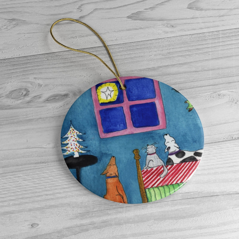 "Ceramic Ornament Set - ""Watching and Wondering"""