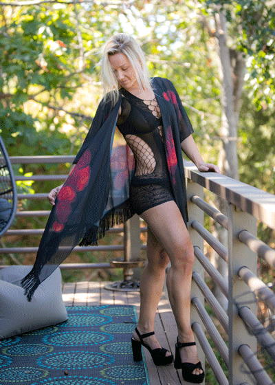 "Draped Chiffon Kimono with Sexy Black Fringe - ""Dipped in Rouge"""