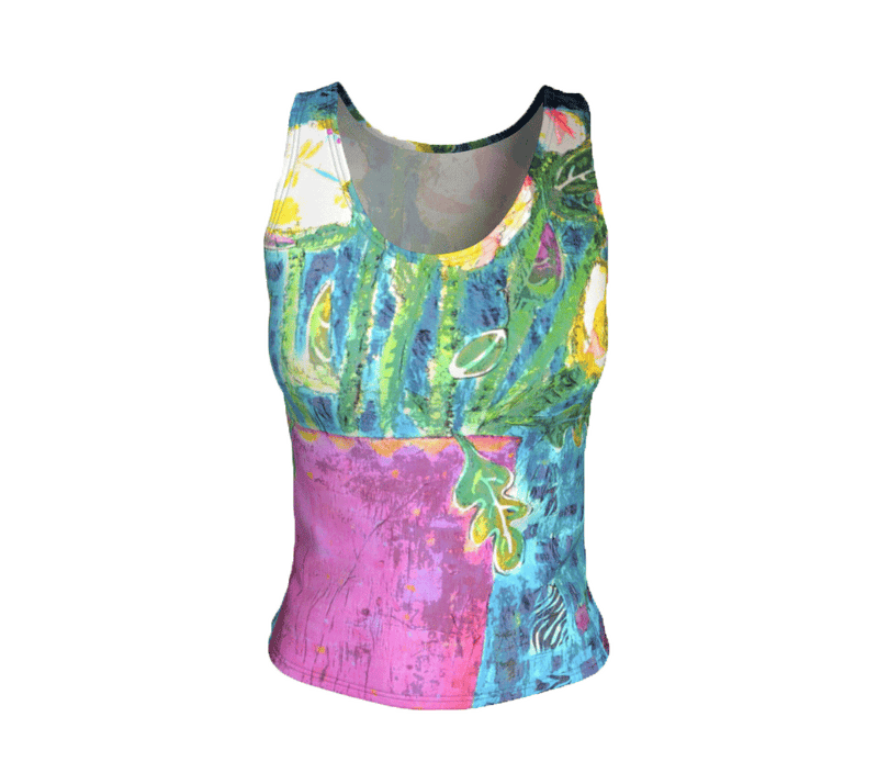 "Fitted Tank Top - ""Bouquet Montage"" - Regular"