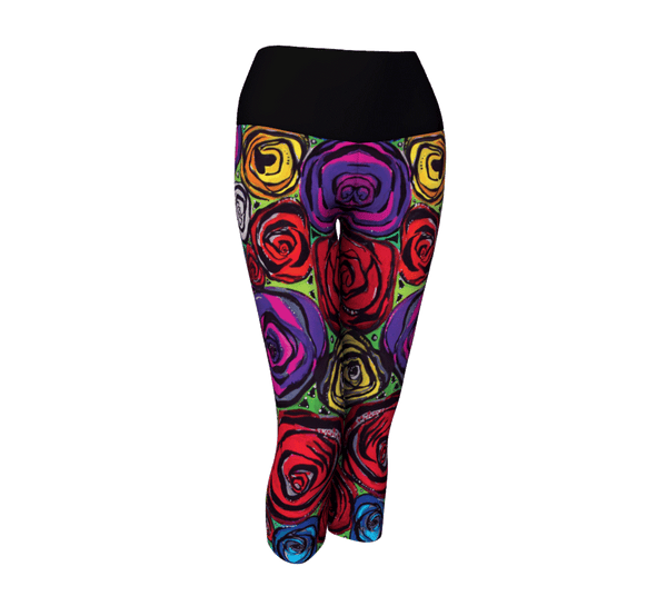 "Yoga Capris - ""The Bitch Loves Roses"""