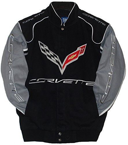 Corvette Racing Embroidered Twill  Jacket - Black/Grey - JH Design