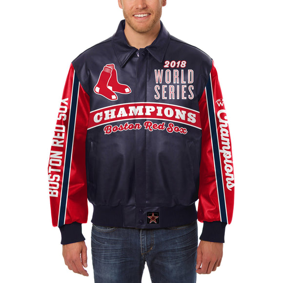 Boston Red Sox JH Design 2018 World Series Champions Logo Leather Jacket – Navy - JH Design