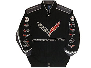 Corvette Racing Embroidered Twill  Jacket - Black - J.H. Sports Jackets