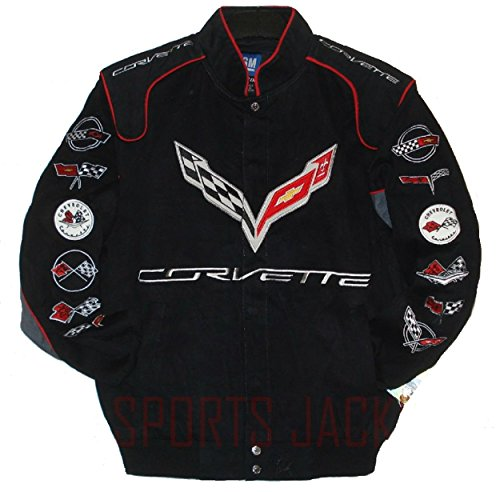 Corvette Racing Embroidered Twill  Jacket - Black - JH Design