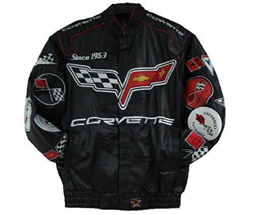 Corvette Embroidered Full Leather Jacket - Black - JH Design