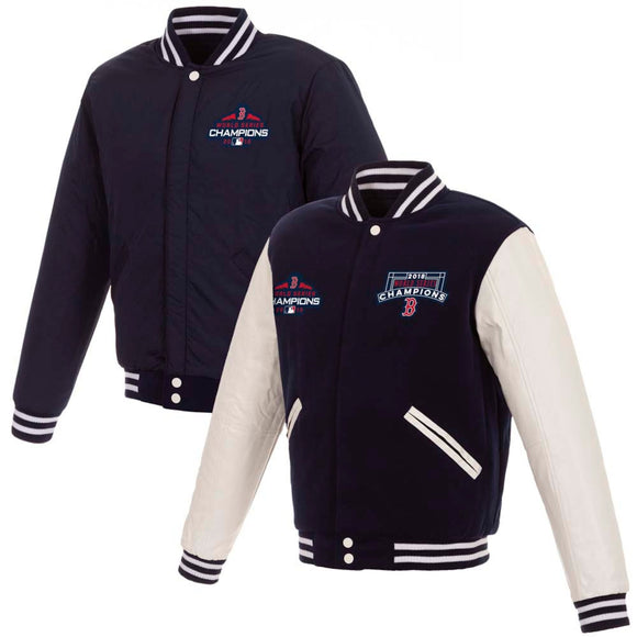 Boston Red Sox JH Design 2018 World Series Champions Fleece Full-Snap Reversible Jacket – Navy - JH Design