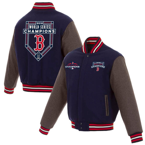 Boston Red Sox JH Design 2018 World Series Champions Wool Full-Snap Jacket – Gray - JH Design