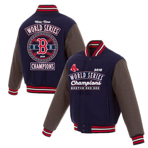 Boston Red Sox JH Design 2018 World Series Champions Wool Reversible Full-Snap Jacket – Navy