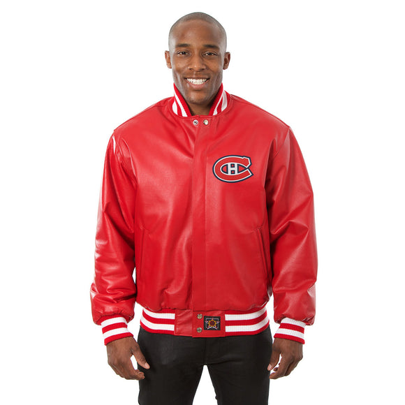 Montreal Canadiens Full Leather Jacket - Red - JH Design