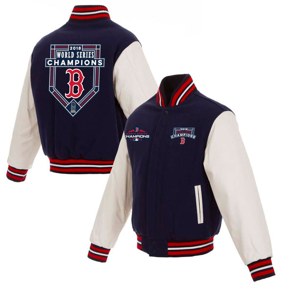 Boston Red Sox JH Design 2018 World Series Champions Wool & Leather Full-Snap Jacket – Navy