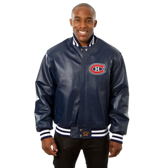 Montreal Canadiens Full Leather Jacket - Navy - JH Design