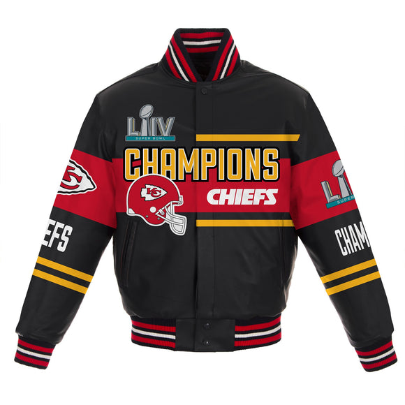 Kansas City Chiefs Super Bowl LIV Champions All Lambskin Leather Jacket - JH Design