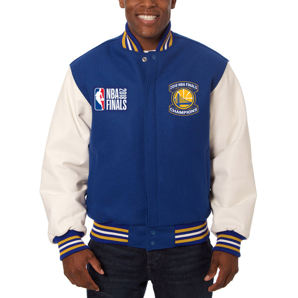 Golden State Warriors JH Design 2018 NBA Finals Champions Leather & Wool Two-Tone Full-Snap Jacket – Royal/White