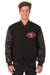 San Francisco 49ers Wool & Leather Reversible Jacket w/ Embroidered Logos - Black