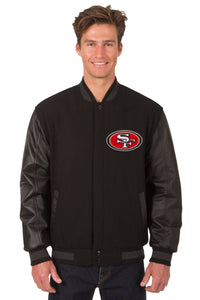 San Francisco 49ers Wool & Leather Reversible Jacket w/ Embroidered Logos - Black - JH Design