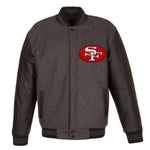 San Francisco 49ers Wool & Leather Throwback Reversible Jacket - Charcoal