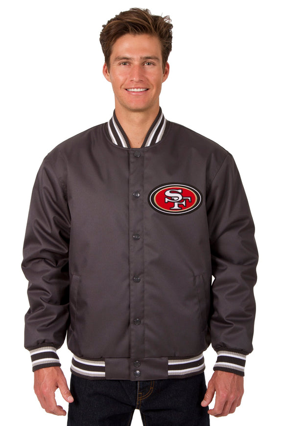 San Francisco 49ers Poly Twill Varsity Jacket - Charcoal - JH Design
