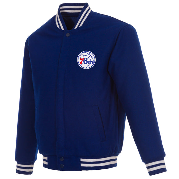 Philadelphia 76ers Reversible Wool Jacket - Royal - JH Design