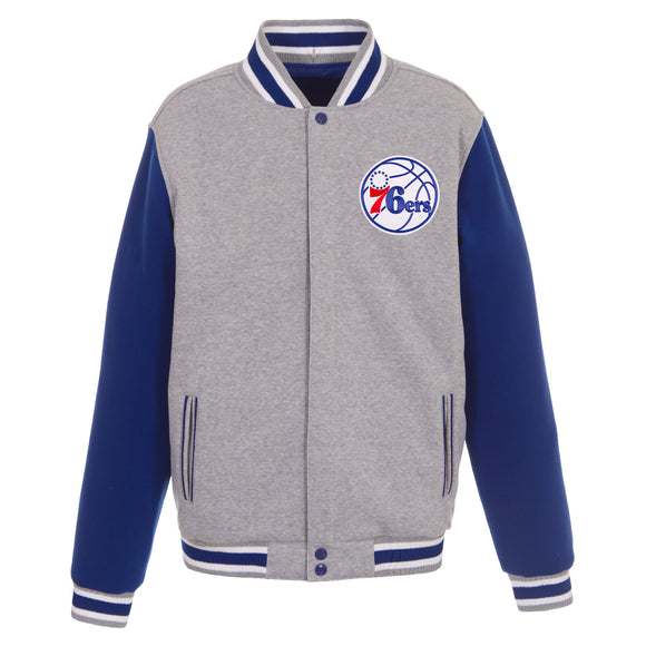 Philadelphia 76ers Two-Tone Reversible Fleece Jacket - Gray/Royal - JH Design
