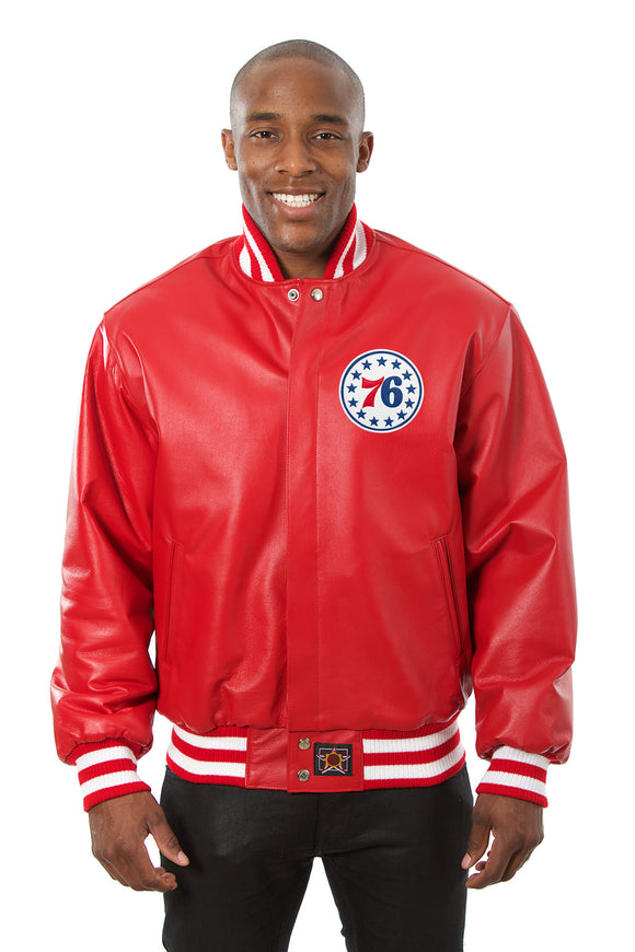 Philadelphia 76ers Full Leather Jacket - Red - JH Design