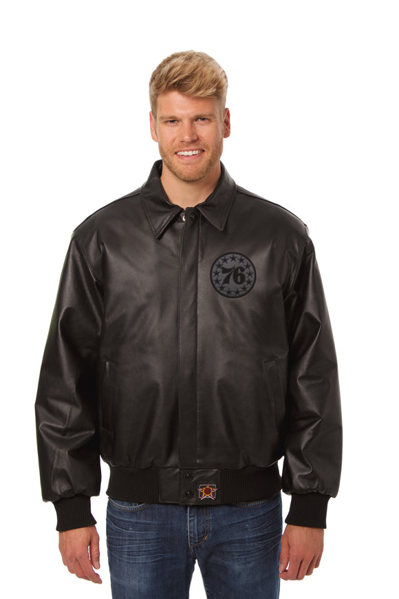Philadelphia 76ers Full Leather Jacket - Black/Black