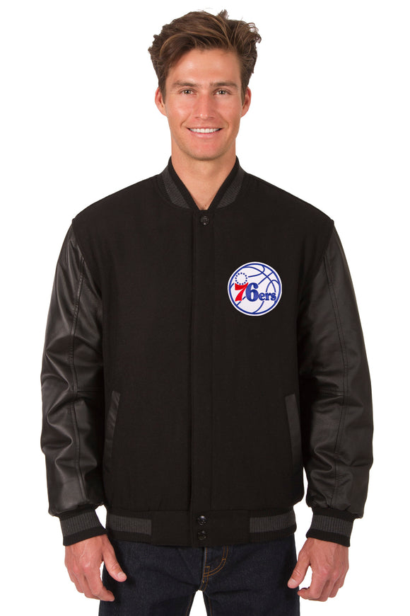 Philadelphia 76ers Wool & Leather Reversible Jacket w/ Embroidered Logos - Black - J.H. Sports Jackets