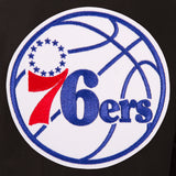 Philadelphia 76ers Wool & Leather Reversible Jacket w/ Embroidered Logos - Black - JH Design