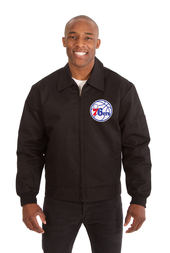 Philadelphia 76ers Cotton Twill Workwear Jacket - Black - JH Design