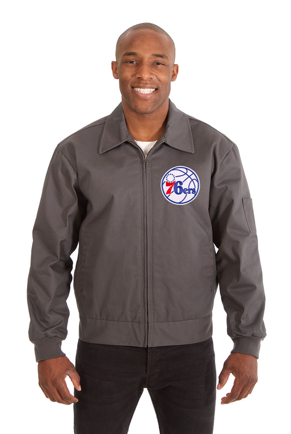 Philadelphia 76ers Cotton Twill Workwear Jacket - Charcoal - JH Design