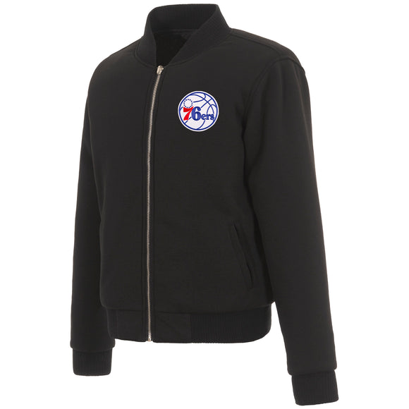 Philadelphia 76ers JH Design Reversible Women Fleece Jacket - Black - JH Design