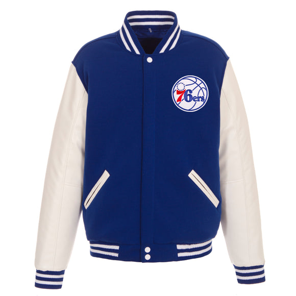 Philadelphia 76ers - JH Design Reversible Fleece Jacket with Faux Leather Sleeves - Royal/White - JH Design