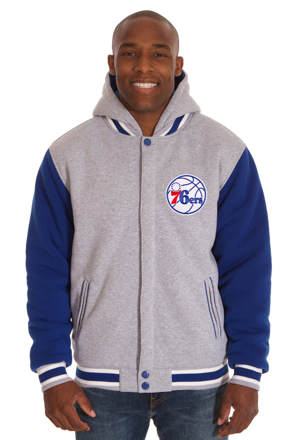 Philadelphia 76ers Two-Tone Reversible Fleece Hooded Jacket - Gray/Royal